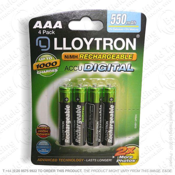 E10) Battery Rech AAA 1.2V 550mA pk4 LLO