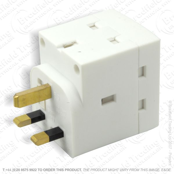 F03) Adaptor 13A 2way REDGREY BP