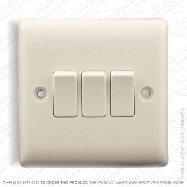 Switch SP 6A 3G 2w White Plastic ECO