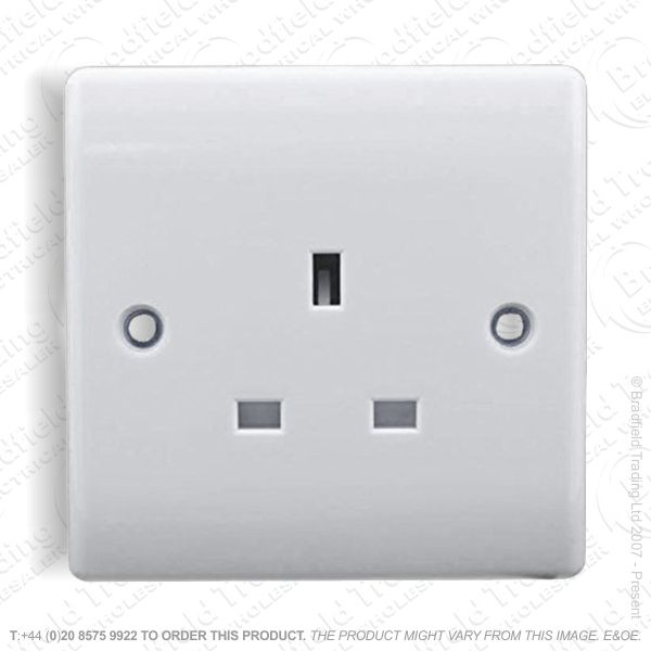 Socket Unswitched 1G 13A white REDGREY
