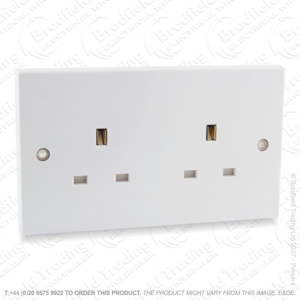 Socket Unswitched 2G 13A white REDGREY