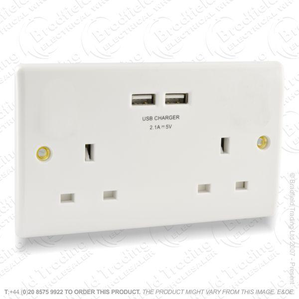 Socket USB 2G 13A white REDGREY BP