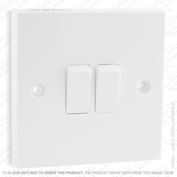 I17) Switch SP 6A 2G 2w White Plastic ECO