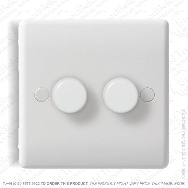Dimmer 2Gang 1Way 250w Rot White ECO