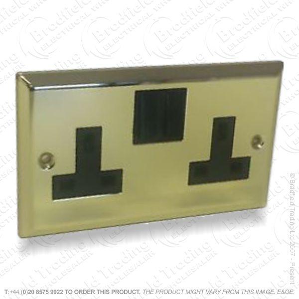13A 2gang Sw Socket Geo Brass ECO