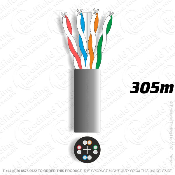 H08) Cat 6 Network Cable 305M Outdoor Black