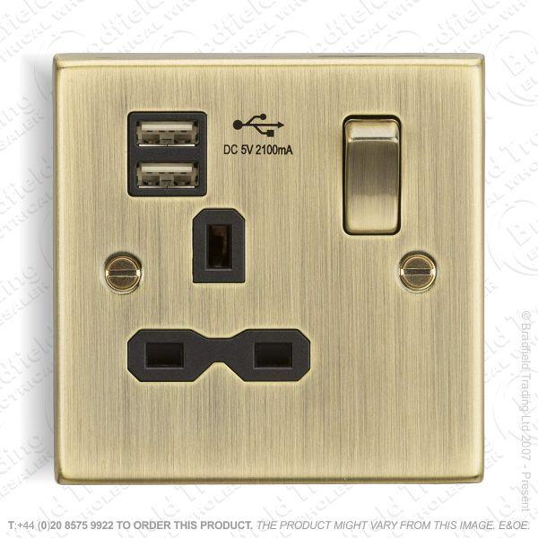 13A 1g USB Socket Ant Brass ML