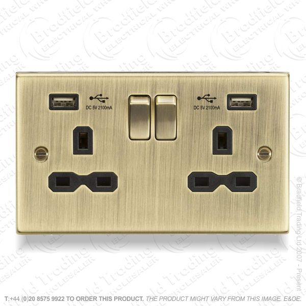 13A 2g USB Socket Ant Brass ML