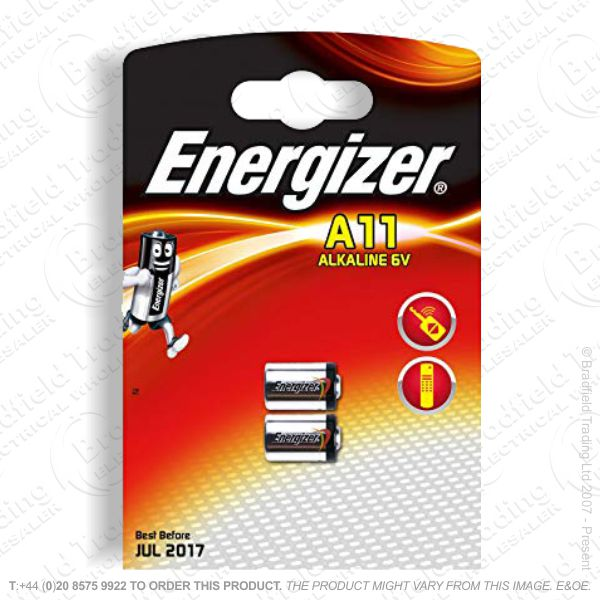 E07) 6V A11 Alkaline Battery 10x16mm Pk2 ENER