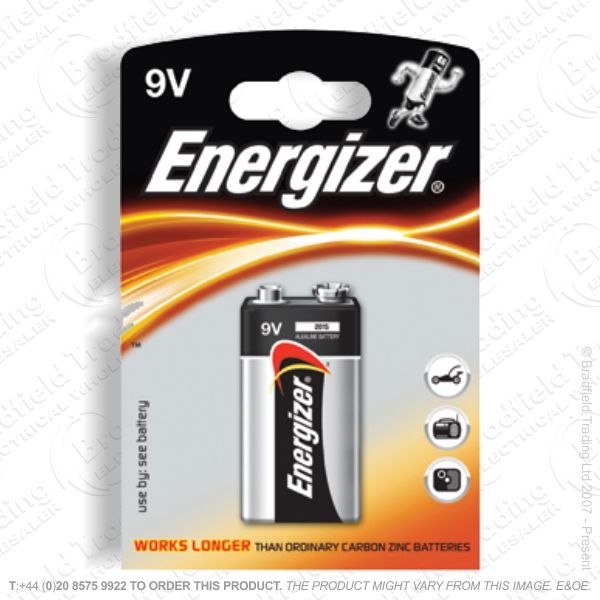 E05) Battery 9v Alkaline Power (1) ENERG