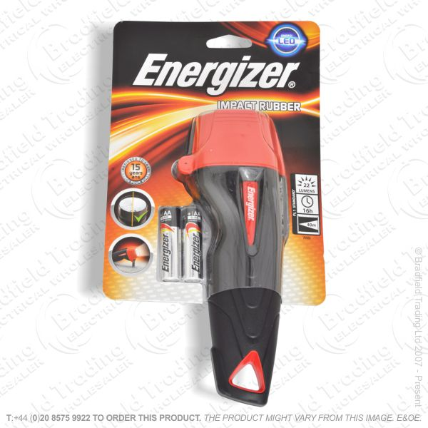 E42) LED Flashlight 2xAA Rubber Impact ENER