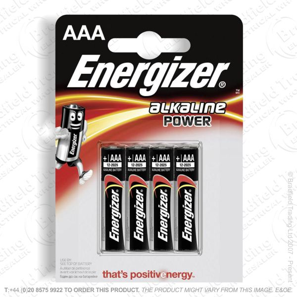 E05) Battery AAA Alkaline Power 4PK ENERG