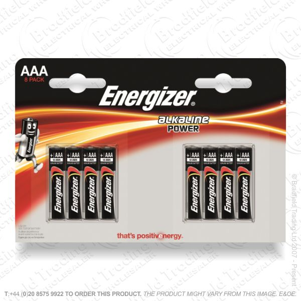 E05) Battery AAA Alkaline Power (8) ENERG