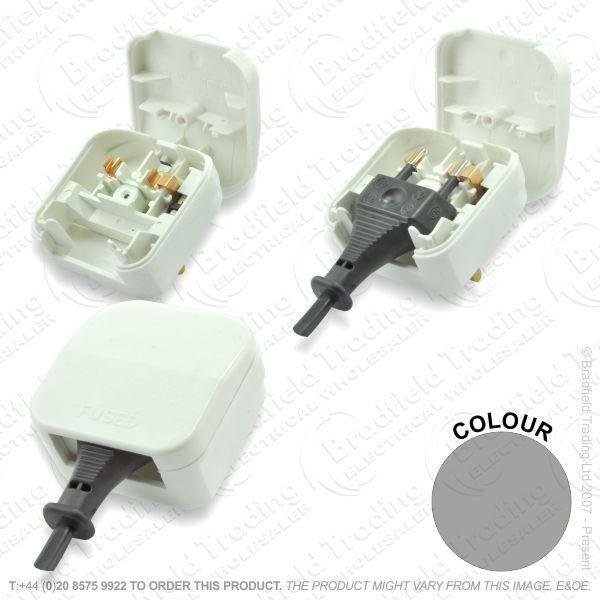 F02) Plug Converter EU 2pin - UK 3pin black