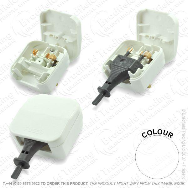 F02) Plug Converter EU 2pin - UK 3pin whit