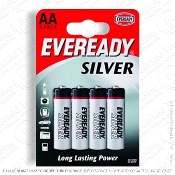 E06) Battery AA 1.5v Silver Alkaline (pk4) EV