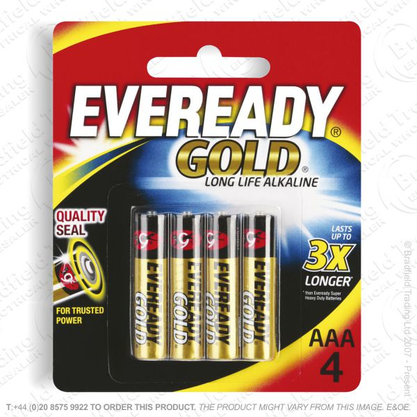 E06) Battery AAA 1.5v Gold Alkaline (pk4) EVE