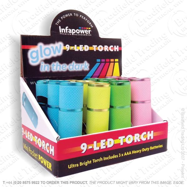 E41) 9 LED Glow In Dark Torch (Box of 12) INF