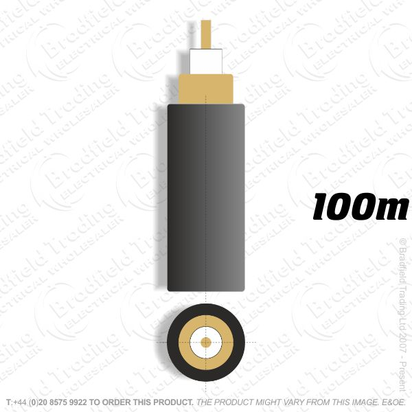 H09) CCTV RG59 black 100M Coax Cable