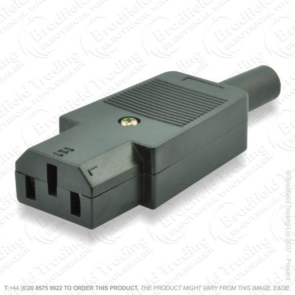 F03) Computer IEC Socket 6A 3pin black