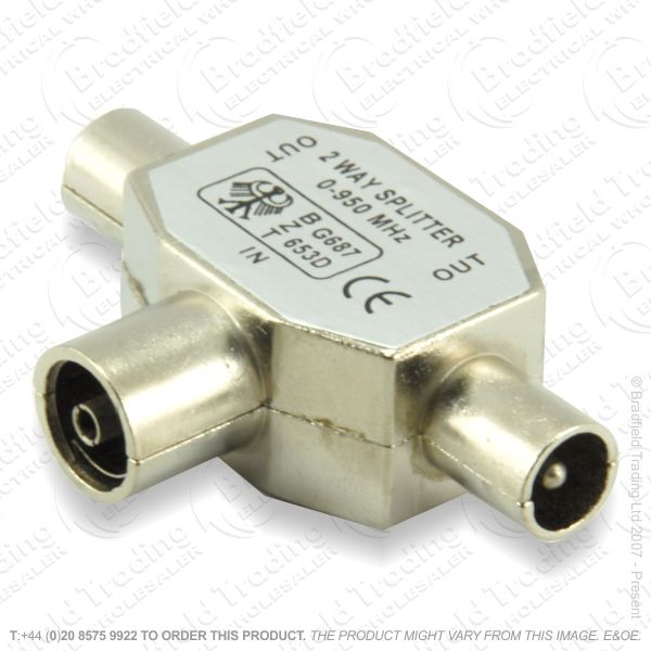 E31) Splitter Coax Metal 2way 1xF 2xM