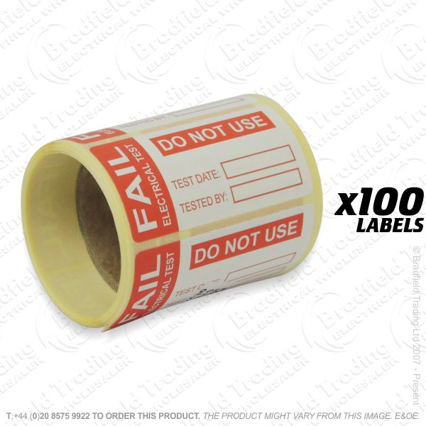 G53) Fail Test Labels 100 (60x30mm)