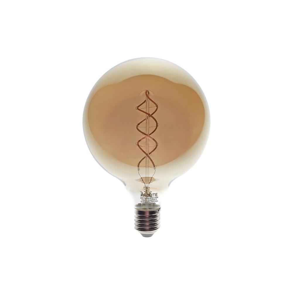LED ES 4w Globe 125 2200k Spiral Dimm Fil PRO