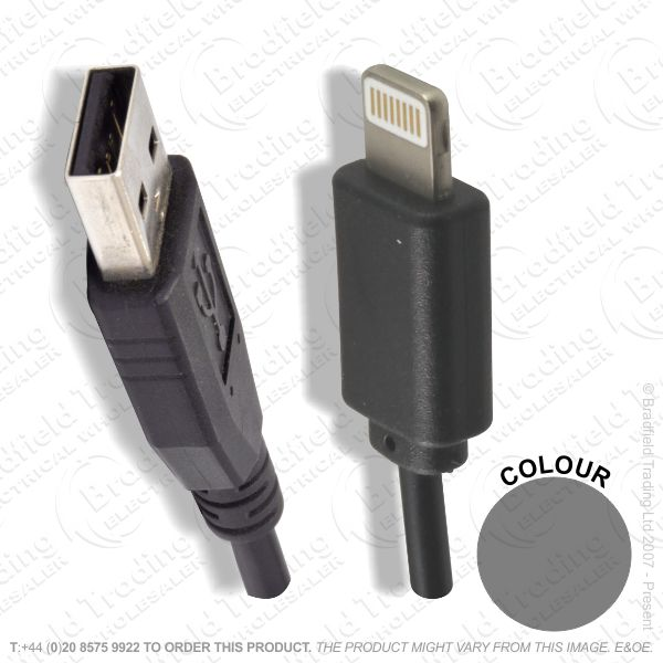E18) Iphone5 6  to USB Cable 900mm Black GRIF