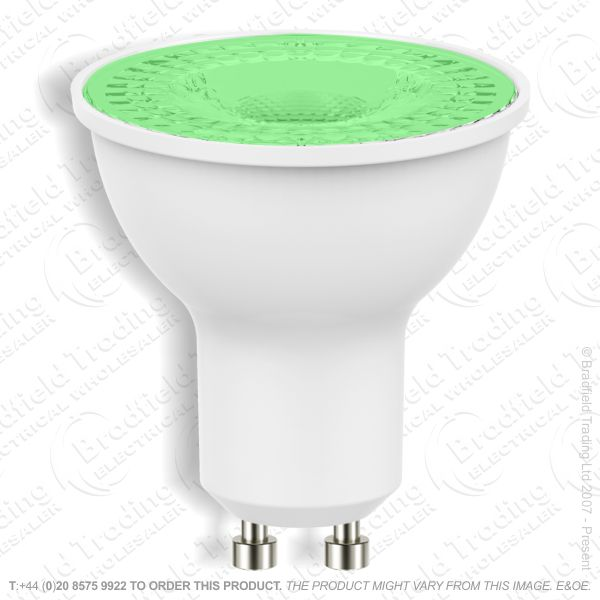 A42) LED 7W GU10 Dimmable Green 240V PROLITE