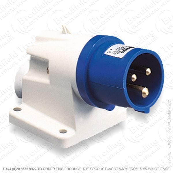 F06) Splash Proof Wall Plug 16A 240V blue