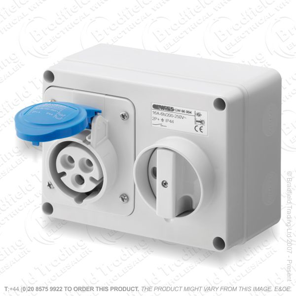 F06) Wall Socket 16A 240V Switched IP44 Horiz