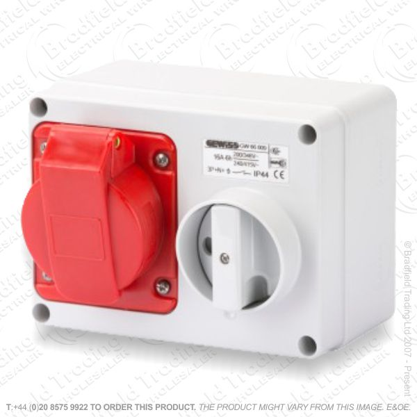 F06) Wall Socket 16A 415V Switched IP44 5pin
