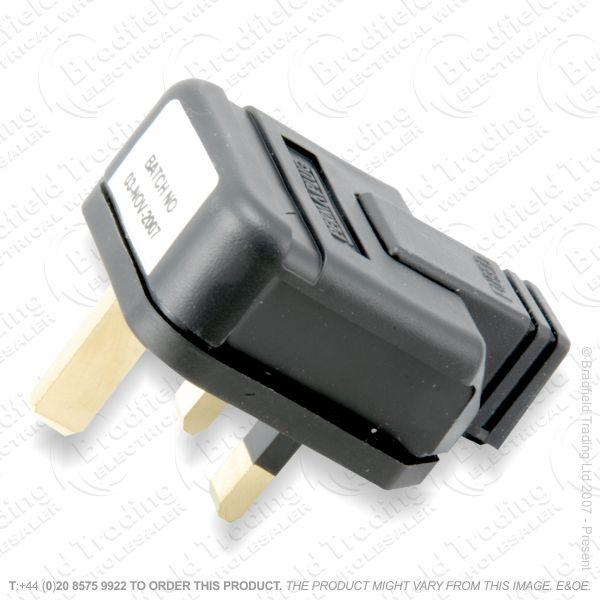 F02) Plug UK Rubber 13A Fused 3pin Black PERM