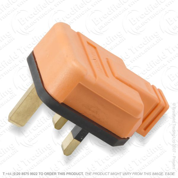 F02) Plugs UK Rubber 13A Fused 3pin Orange