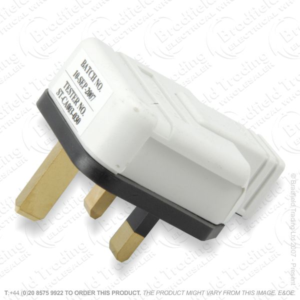 F02) Plug UK Rubber 13A Fused 3pin White