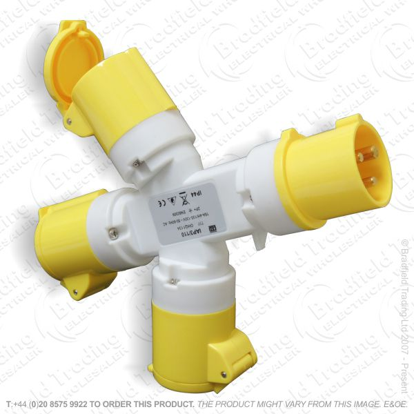 F07) 3Way Splitter Adaptor 16a 110V yellow