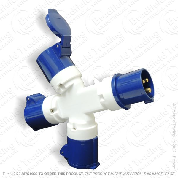 F07) 3Way Splitter Adaptor 16a 240v Blue
