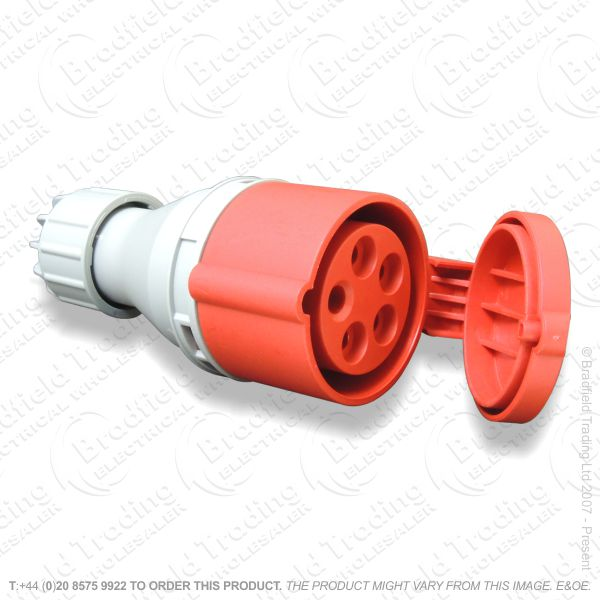 F06) Splash Proof Socket 16A 415v 5pin Red