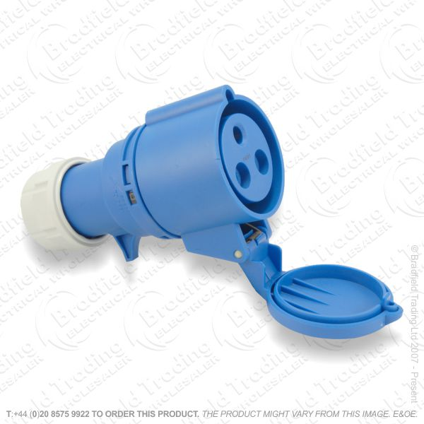 F06) Splash Proof Socket 32A 240V Blue