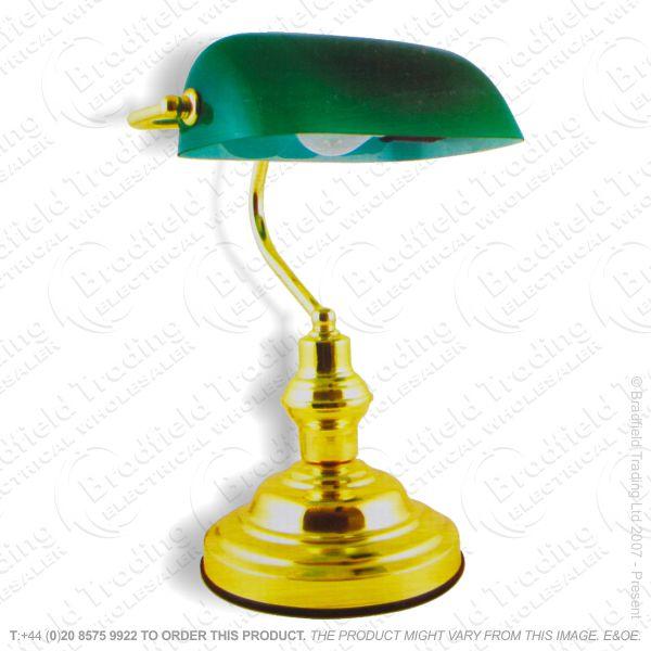 B11) Desk Light Bankers Brass Green LLO