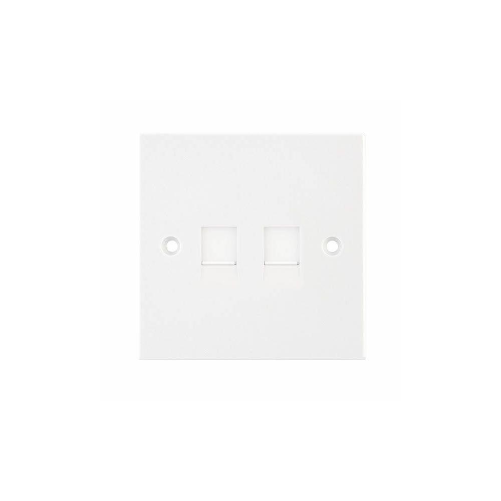 Socket 2x RJ45 Cat5 Outlet 2G white IDC SELEC
