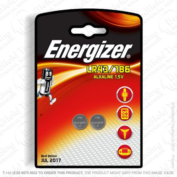 E09) Battery 1.5V Alkaline LR43 pk2 ENR