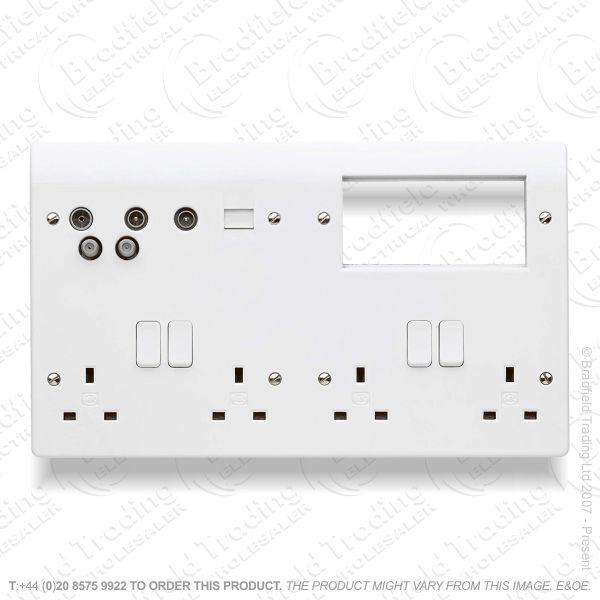 #SP Socket Combo Plate 4G 13A white MK