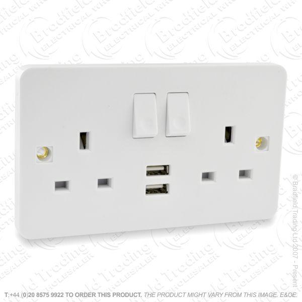 I20) Socket Switched 2G 13A white USB MK