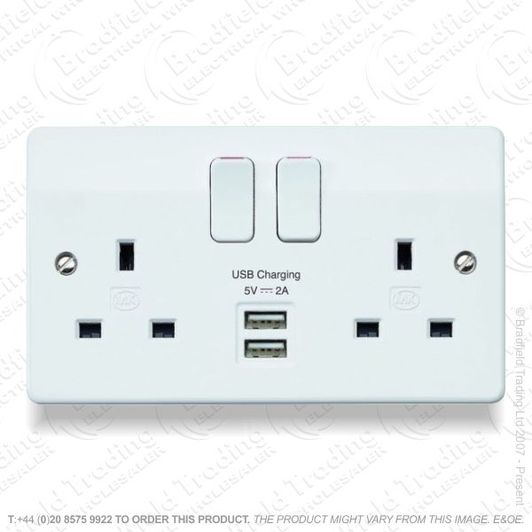 Socket Switched 2G 13A white USB MK