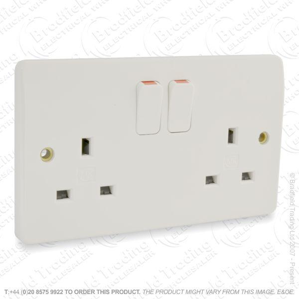I20) Socket Switched 2G 13A white MK