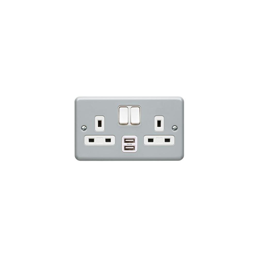 Metal Clad USB 13A 2gang DP Socket MK