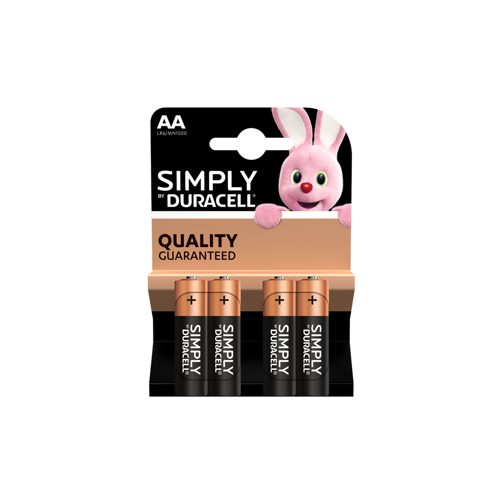 E04) Battery AA 1.5v DURACELL (pk 4) Simply