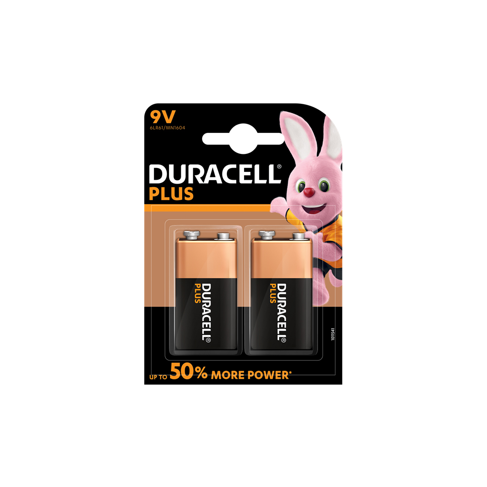 E04) Battery 9V DURACELL Plus (Pkx2)