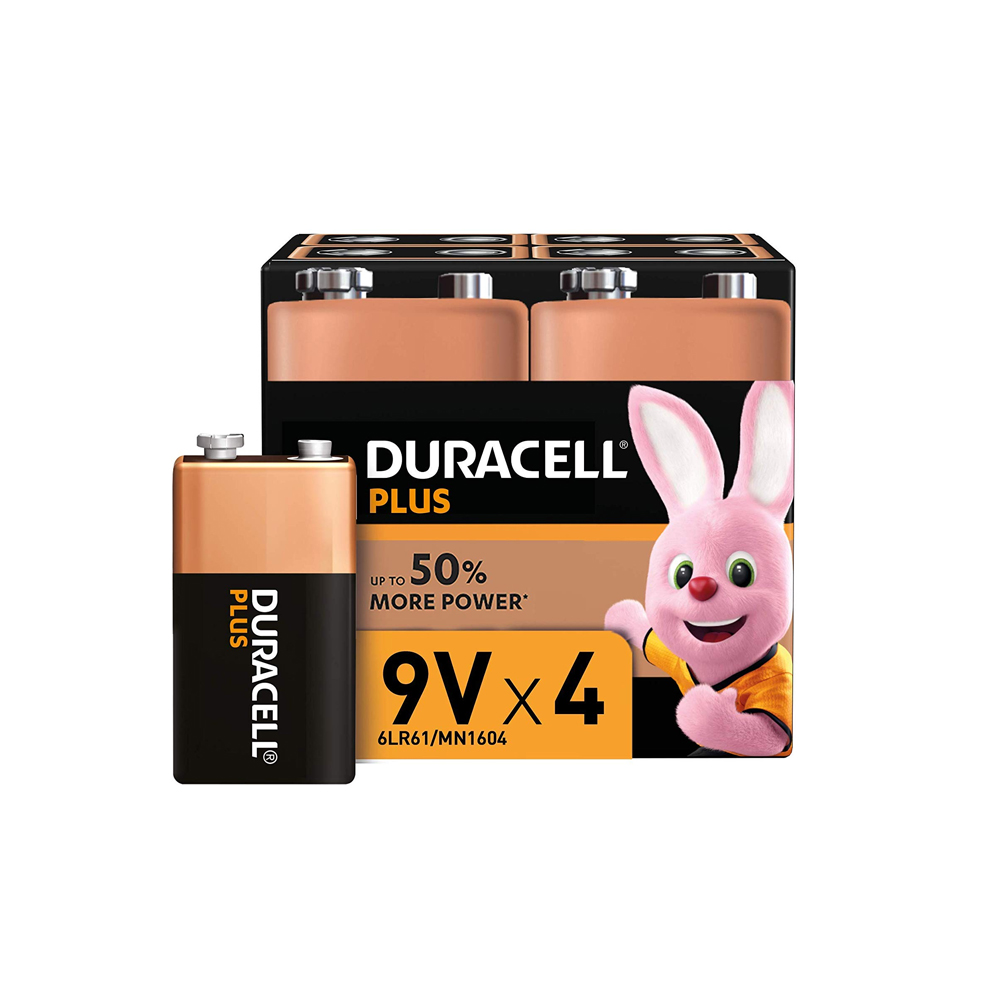 Battery 9V DURACELL Plus (Pkx4)